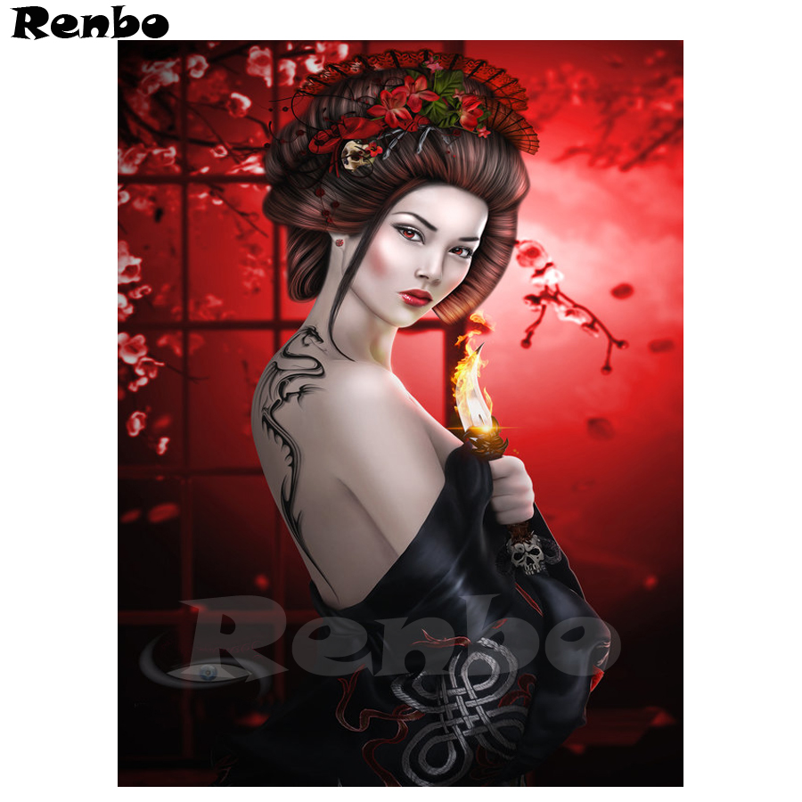Needle Arts & Crafts Home & Garden Diy Photo Custom,5d Diamond Painting Cross Stitch Full Drill Mosaic Diamond Embroidery Japanese Woman Geisha Home Decor B72