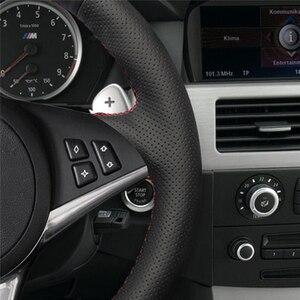 Image 5 - MEWANT Nero Artificiale Volante In Pelle Auto Copertura Della Ruota di Copertura per BMW E60 E61 (Touring) 530d E63 2003 2010 E64 2004 2010
