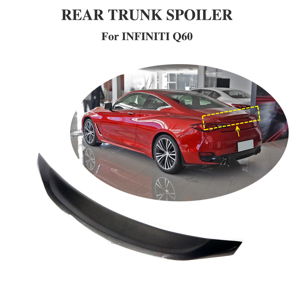 Rear Spoiler for Infiniti Q60 2016 - 2019 JC Style Carbon Fiber Trunk Lip Wing Protector Boot LidRear Spoiler for Infiniti Q60 2016 - 2019 JC Style Carbon Fiber Trunk Lip Wing Protector Boot Lid