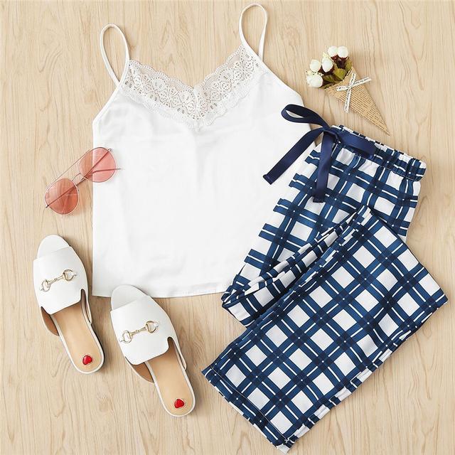 Women's Casual Sleeveless White Pajamas