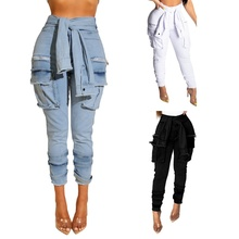 3color Women's Fashion High Waist Jeans New Sexy Nightclub Fake belt Tie Fashion Button Washed Ripped Jeans for Women S-XXL plus tie waist ripped jeans
