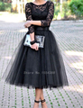 Elegant  Length Lace Bodice Tulle Skirt Cocktail Dress With 3/4 Length Sleeve 2017 New Vestido Curto
