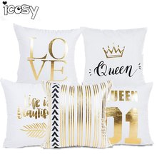Letter Print Bronzing Cushion Cover Decorative Pillows for Chairs Home Decorative Pillows Cover Pillowcase Drop Shipping 45X45CM(China)
