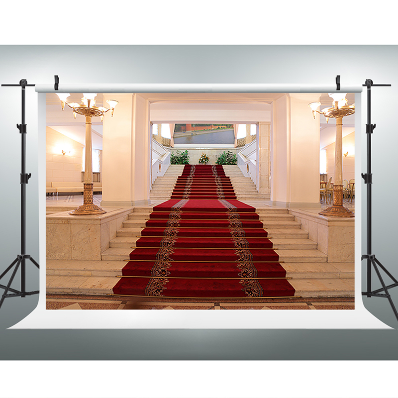 Wedding Photography Backdrops Red Carpet Stairs Photo Booth Backdrop Flowers Green Leaves Backdrops for Photographic Studio 10x10ft green nature photography background backdrops custom wedding country view backdrops for photo booth camera fotografia