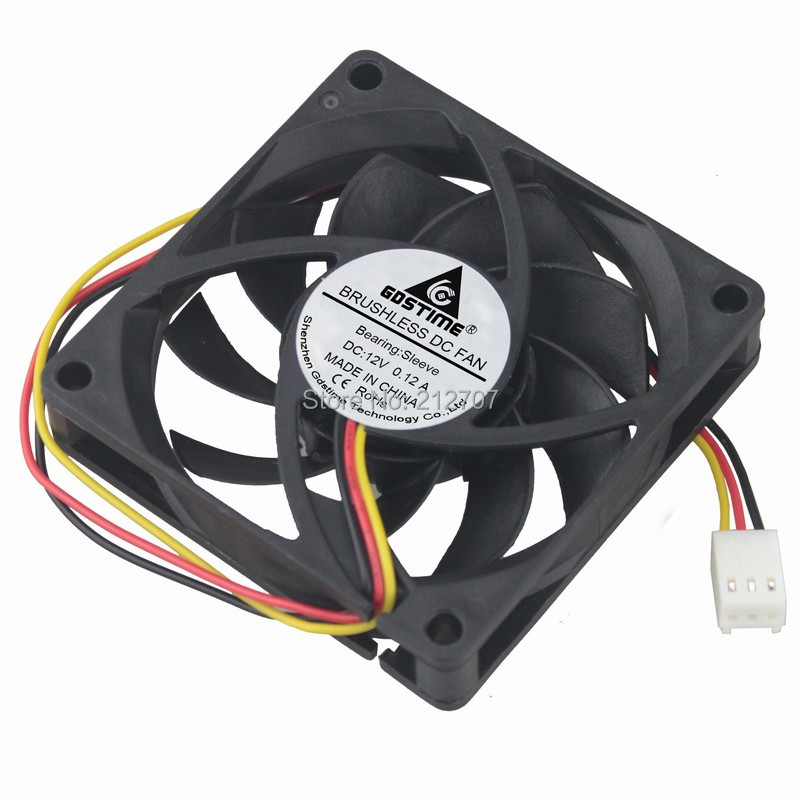 Wholesale 100pcs Gdstime 7cm <font><b>70mm</b></font> 70x70x15mm DC 12V 3PIN Brushless Comuputer Case Cooling Cooler <font><b>Fan</b></font> with <font><b>PWM</b></font> image
