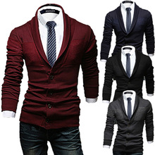 ZOGAA Mens Casual Sweater Slim Lapel Knit Cardigan Buttons Undershirts Knitwear Sweaters Long Sleeve Cardigans