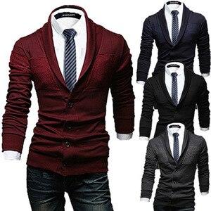 ZOGAA Men's Casual Sweater Slim Lapel Knit Cardigan Buttons