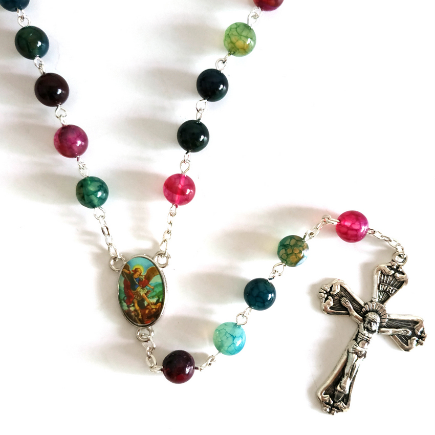 New Fashion Round Tourmaline Natural Stone Beads St Michael Archangel Catholic Rosary Necklace
