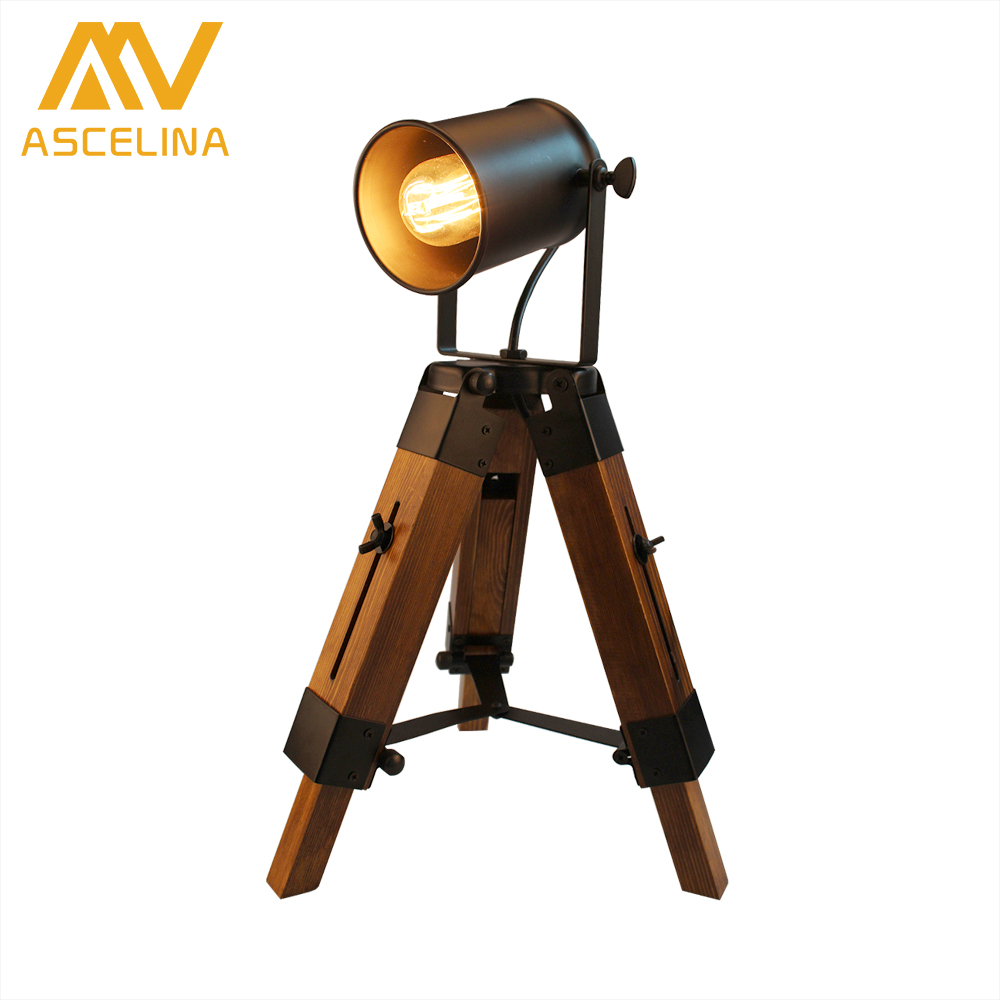 Loft Table Lamp ASCELINA American Retro Creative LED Desk Lamps Adjustable Vintage table light for Bedroom/Living room/Bar/Cafe fumat creative iron water pipe table lamps led industrial loft vintage desk lamps cafe bar robot table lamps for bedroom