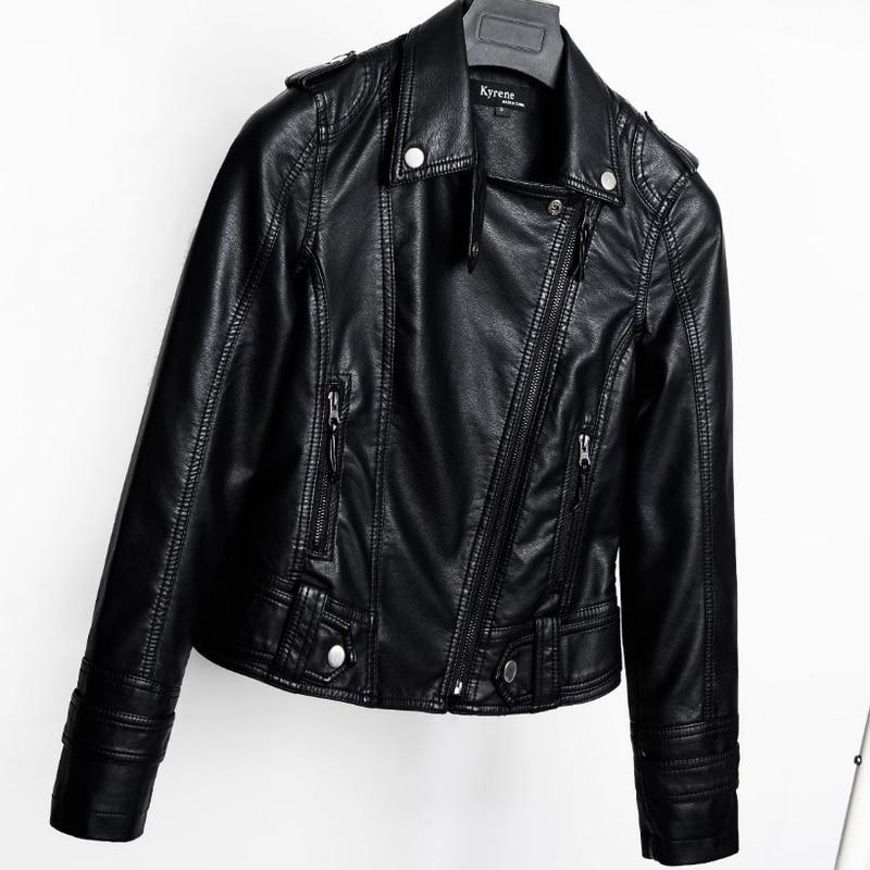 U-SWEAR 2018 New Fashion Turn Down Collar Women Leather Jackets Slim PU Leather Motor Jacket for Women Casaco Feminino Size 2XL