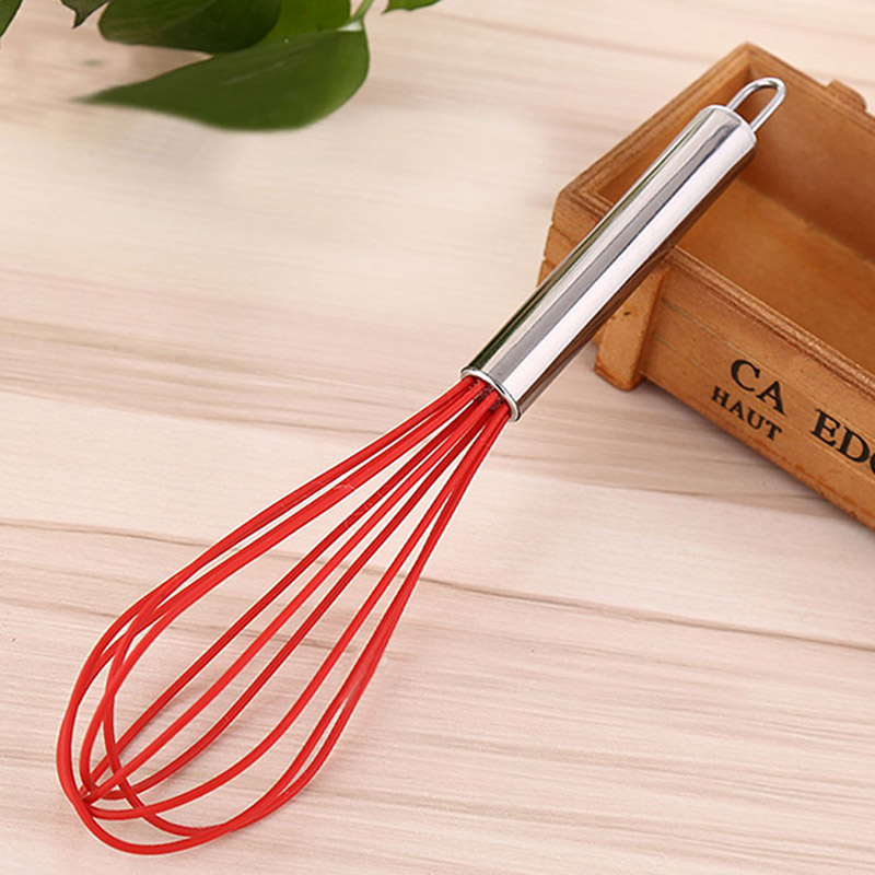 LUCOG Premium Silicone Whisk With Heat Resistant Non-Stick Silicone Kitchen Blend Whisking Beater 8/10/12inch For Option