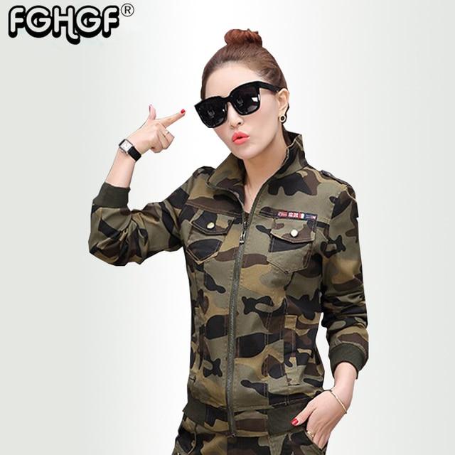 7d04bf8cb28e4 Camouflage Women s Bomber Jacket autumn Army Green Pocket Military Camo  Basic Jackets Female Jackets plus size Vintage Coat 3828