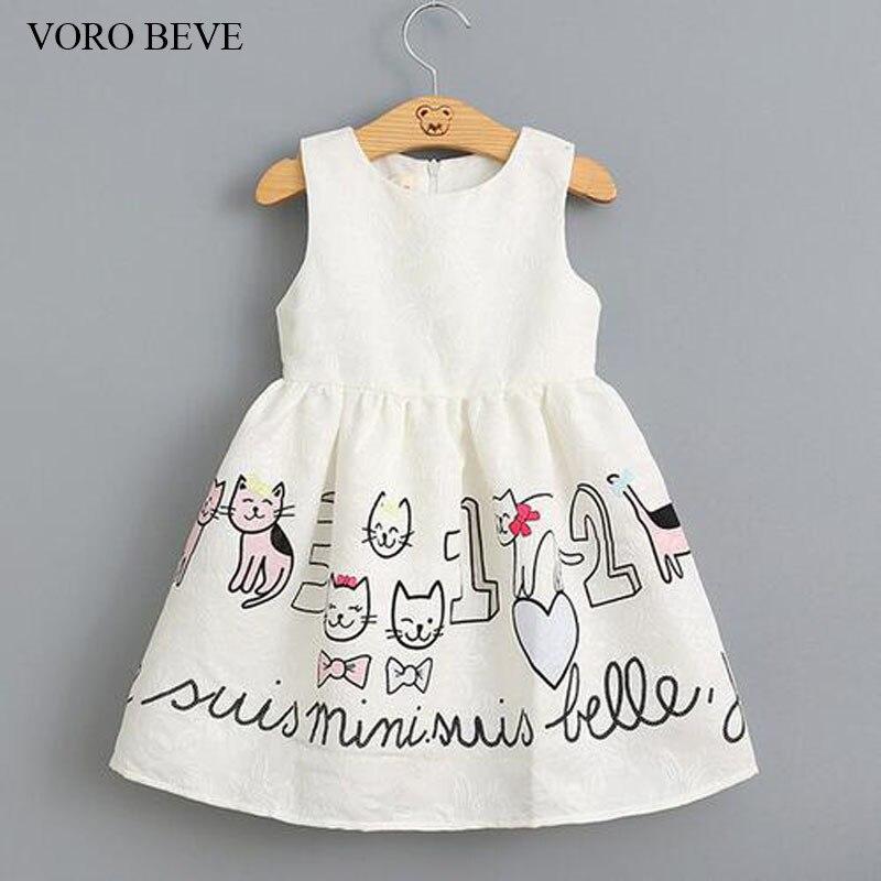VORO BEVE 2017 New girl dress princess clothes dress for kids cat printed sleeveless dress children