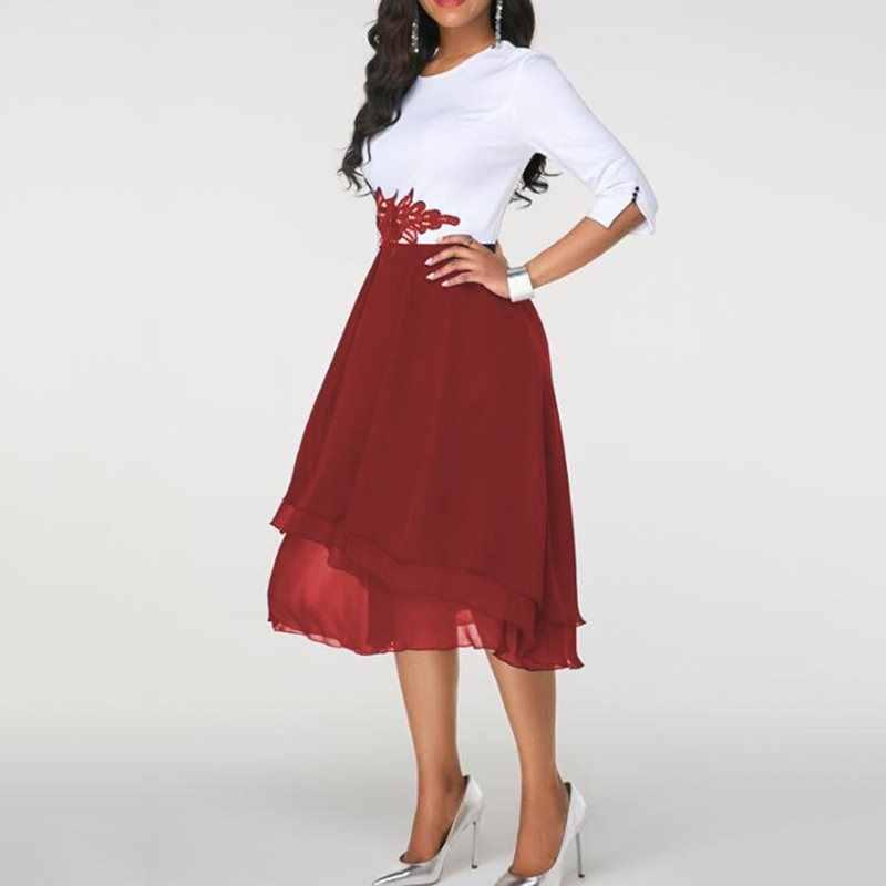 Летние элегантные офисные женские красные винтажные женские платья больших размеров 3XL 5XL, ретро кружевные вечерние платья в африканском стиле, модное женское платье миди 2019
