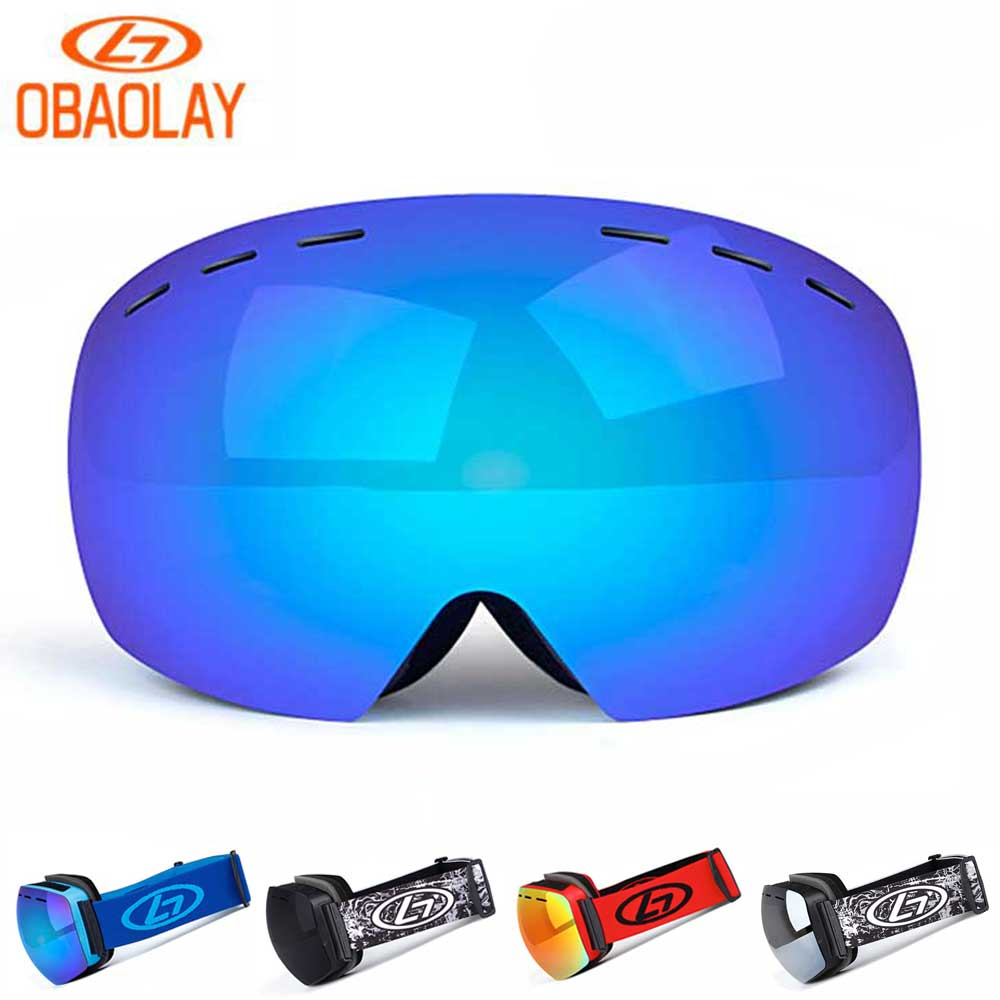 OBAOLAY Snowboard Glasses UV400 Ski Goggles Anti-fog Skiing Mask Men Women Snowboarding Glasses Snow Adult Spherical Eyewear New