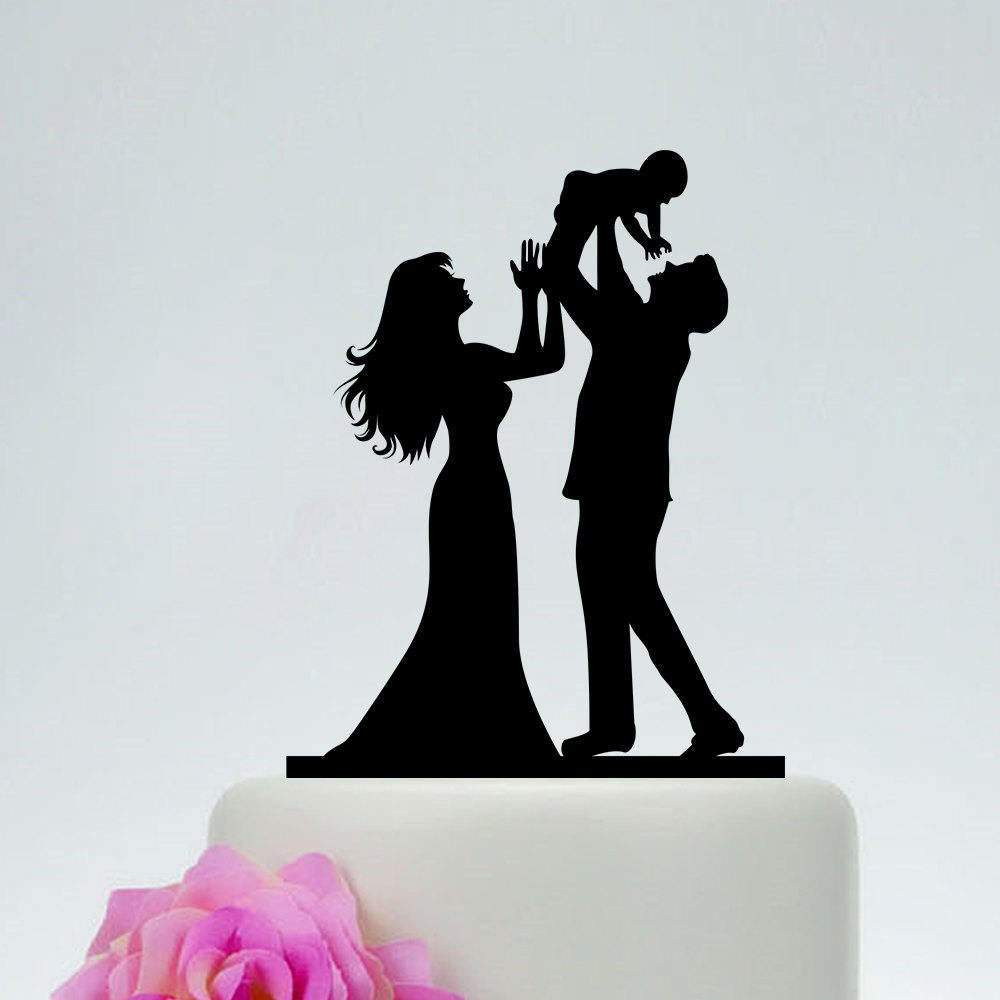 Family Wedding Cake Topper,Bride And Groom Holding Baby