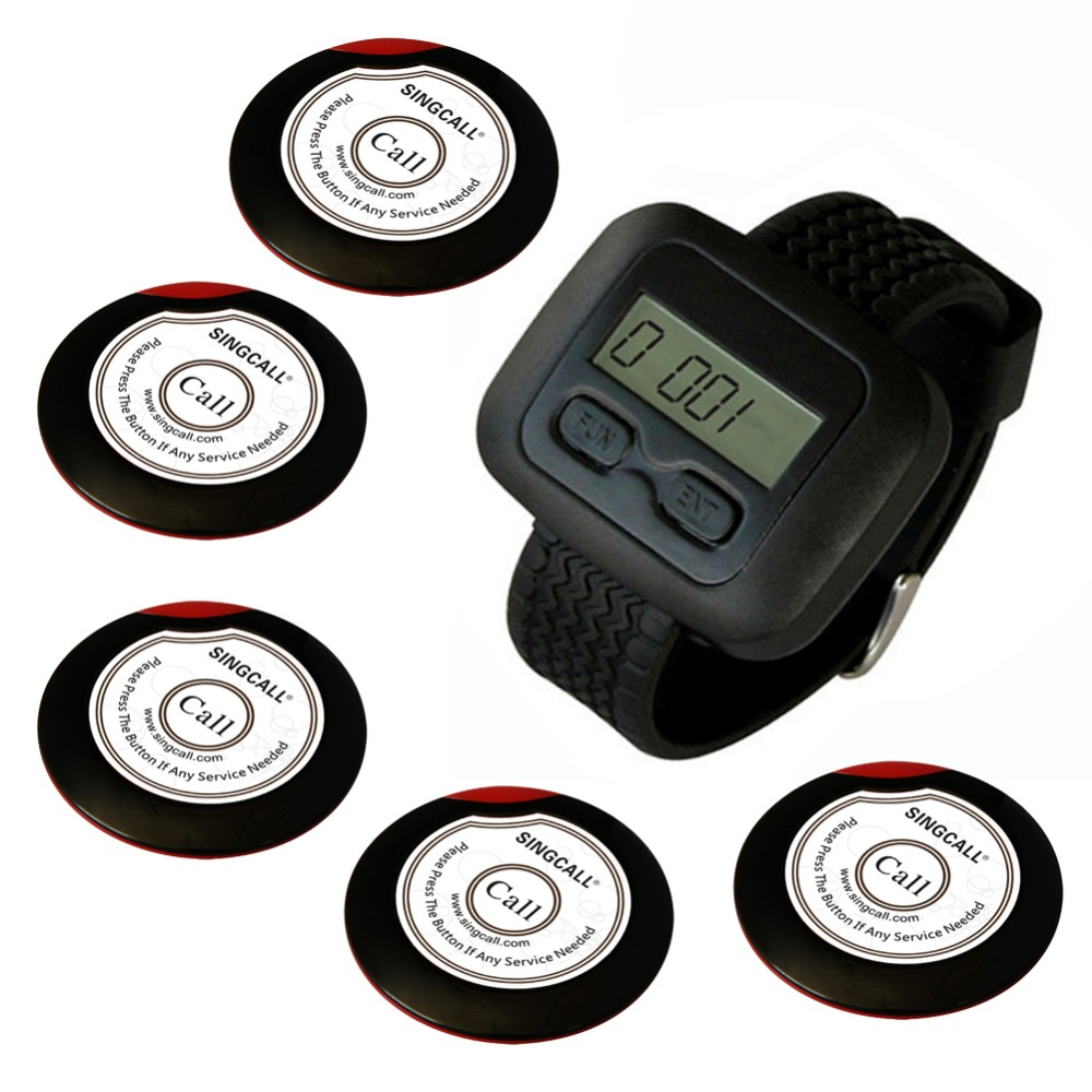 wireless waiter pager system for restaurant,supermarket and so on,5pcs of table button and 1 pc of wrist watch receiver restaurant wireless table bell system 1 counter monitor 5 wrist watch pager 40 button 3 key call bill cancel