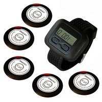 wireless waiter pager system for restaurant,supermarket and so on,5pcs of table button and 1 pc of wrist watch receiver