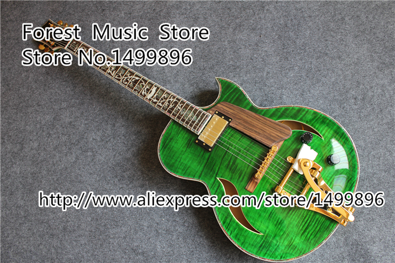 Emerald Green Custom China Electric Jazz Guitars Golden Hardware Hollow Guitar Body Floral Inlay Body &Kits Avaiable high quality custom shop lp jazz hollow body electric guitar vibrato system rosewood fingerboard mahogany body guitar