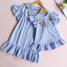 Fashion Family Matching Clothes Mother Daughter Short sleeve striped skirt Baby Girl Mini Dress Mom Baby Girl Party Clothes