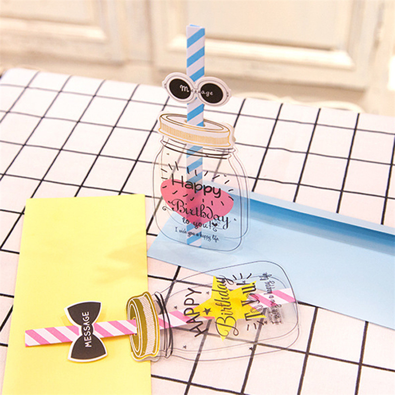 Milk Bottle Lovely Happy Birthday Straw Greeting Card Envelope 3D Creative Message Cards Blessing Gift