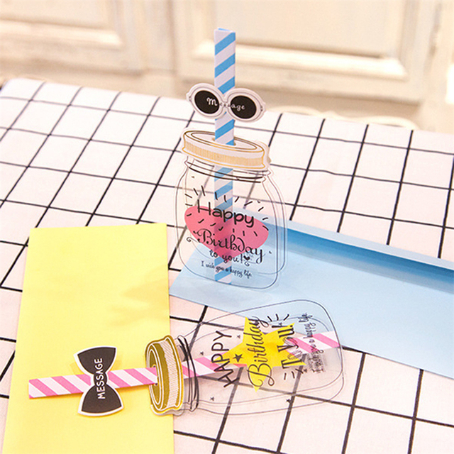 milk bottle lovely happy birthday straw greeting card envelope 3d creative message cards blessing birthday gift - Happy Birthday Gift Card