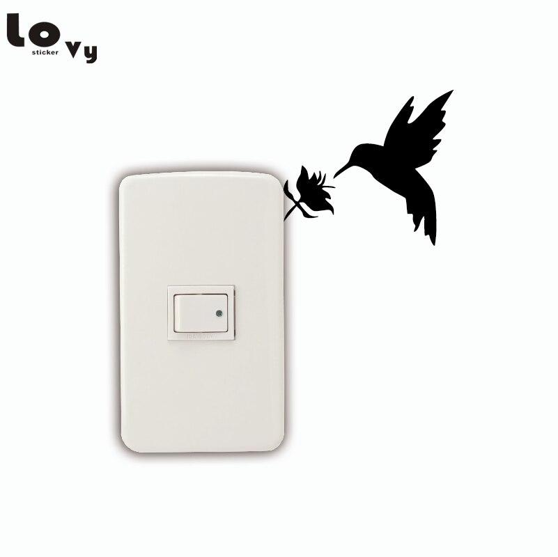 Natural Style Hummingbird Switch Sticker Cartoon Bird Vinyl Wall Stickers for Kids Room Home Decor 011