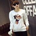 Las camisetas de Las Mujeres 2015 de La Manera 3D Cat Impreso Sudaderas Con Capucha Otoño Estilo Harajuku Sueltos Pullovers O-cuello Ocasional Fleece Hoody HO8350