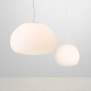 Modern Pendant Light White Globe Glass Pendant Lamp Round fluid Hanglamp for living room kitchen Suspension luminaires Lighting