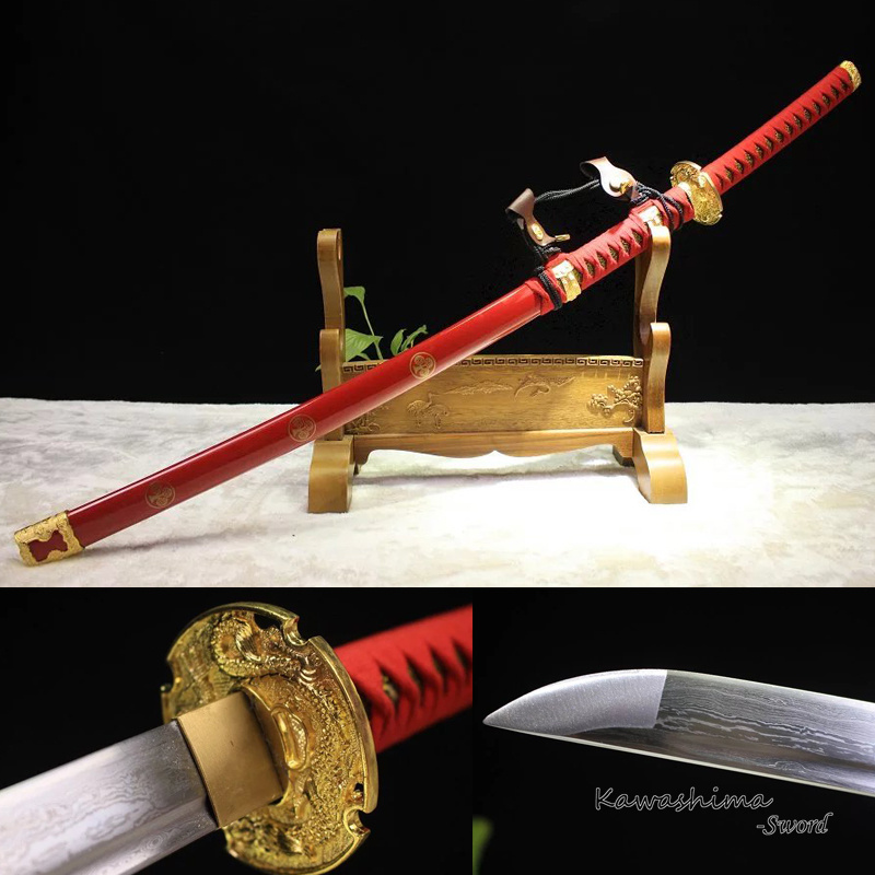 Handmade Folded Steel Japanese Tachi Sword Katana Full Tang Blade Red Scabbard Printed Flower Sharpness Ready for Cutting