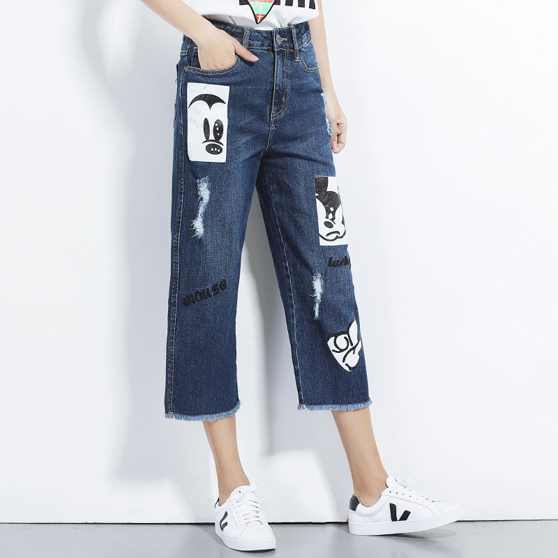 2017 LEIJIJEANS NEW Arrival jeans with high waist wide leg pants with pattern ripped jeans blue demin 6XL Plus size women calvin klein new blue printed drawstring wide leg women s size xl pants $79 035