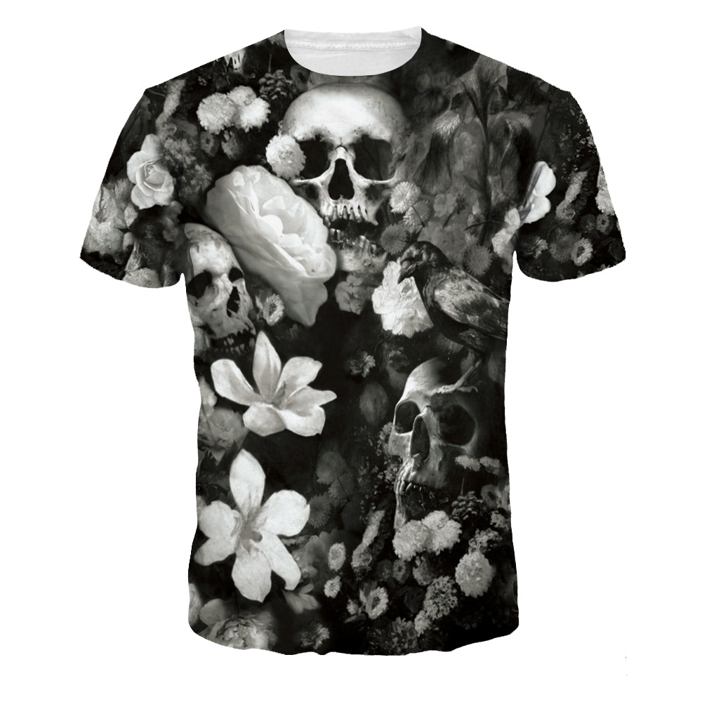 Punk Style Women Men 3D T Shirt White Flowers Skulls Print Halloween Hip Hop T-Shirt Quick Dry Summer Tops Party Shirt