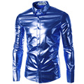 New Men Shirt Chemise Homme 2017 Mens Night Club Fashion Shinny Royal Blue Elastic Dress Shirts Casual Long Sleeve Shirt Men