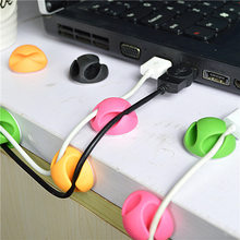 6PCS/lot D29mm Adhesive Double Orifice Cable Wire Organizer Earphone Cable Clip Tidy USB Charger Cord Holder desktop Fixed clamp(China)