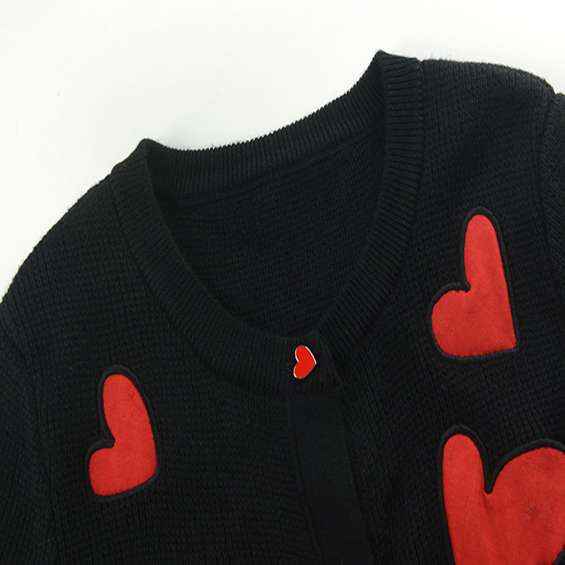 Bouton Automne Sruilee Top En Pull Black Piste Gilet Coeur Outwear Haussement Manteau Broderie Tricot D'hiver Femme Femmes Motif Cardigans ww74BF