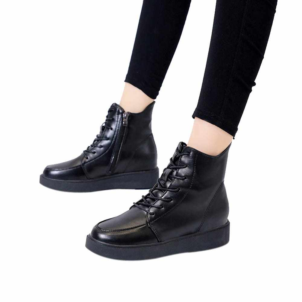 78351f05f4 YOUYEDIAN woman winter boot Fashion Women British Thick-Soled Lace-Up  Martin Boots Warm