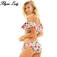 Rhyme Lady New 2018 Bikini Set Women Swimsuit Ruffle Design Swimwear Push Up Bathing Suit Print