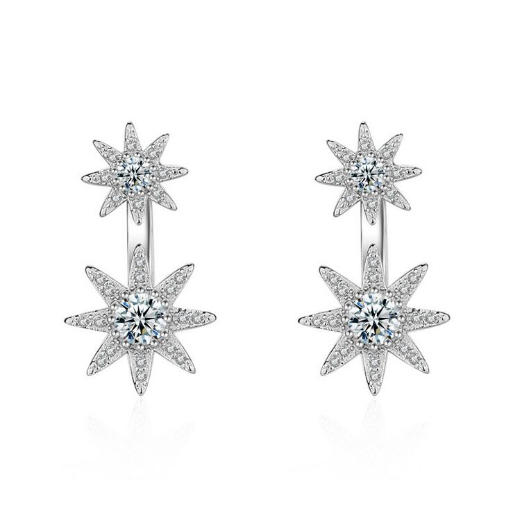 2017 new arrival high quality fashion shiny zircon star 925 sterling silver ladies stud earrings jewelry women gift wholesale in Stud Earrings from Jewelry Accessories