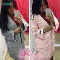 TAOVK 2016 новая мода Русский стиль Женщины Осень/Зима 5 цвета cargigan свитер Плед вязать кардиган пальто для женщин