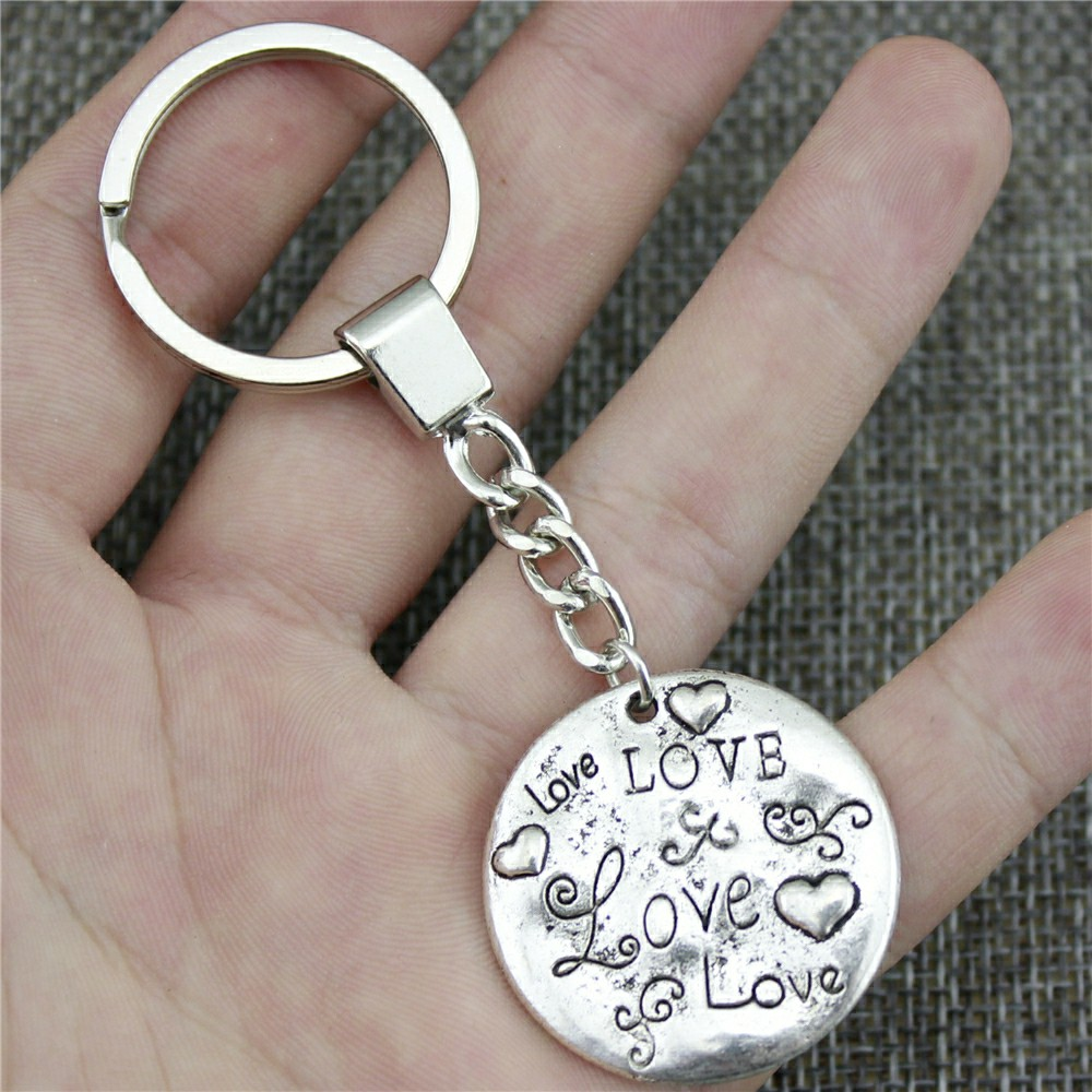 Men Jewelry Key Chain Party Gift Keychains Dropshipping Jewelry 32mm Love 2 Colors Antique Bronze Antique Silver Key Rings