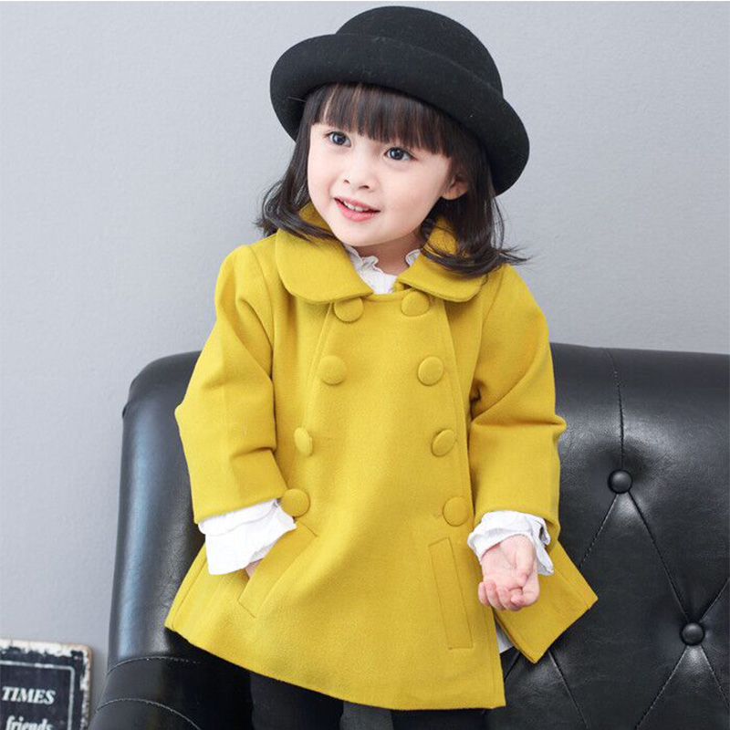 Kid woolen coats for girls fall winter korean style children wool coats toddler girl outerwear trench double breasted blazer korean style turndown collar solid color double breasted long sleeves polyester trench coat for men