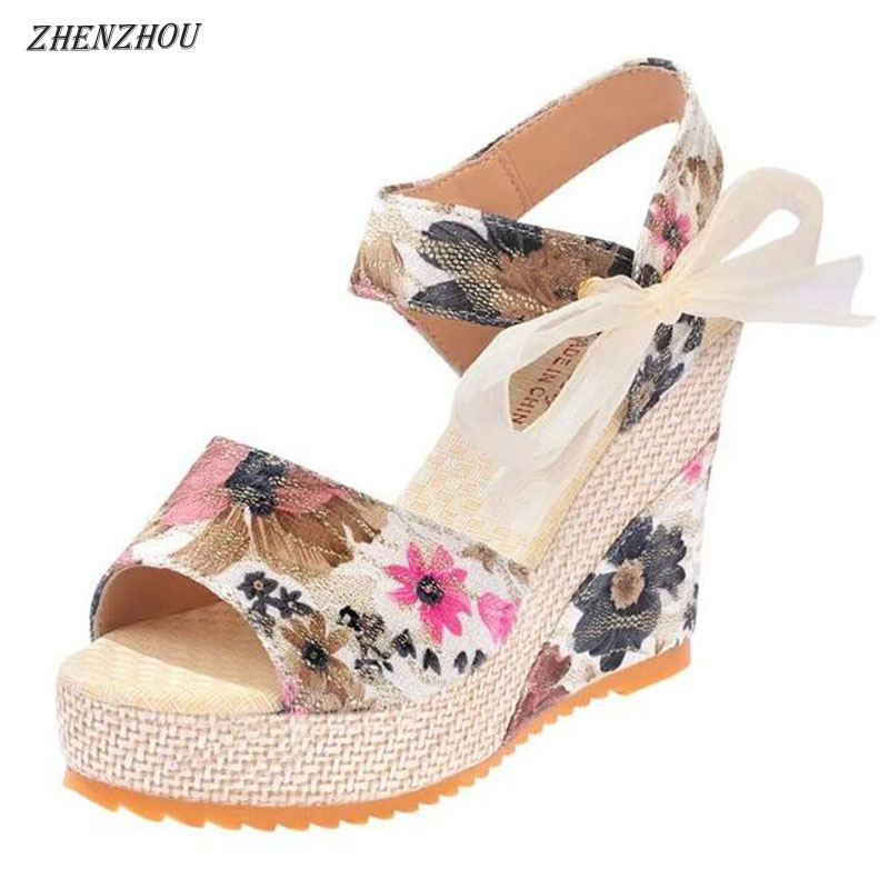 ZHENZHOU 2018 summer new floral wedges with a waterproof platform for women's sandals with high heels and ladylike shoes ladylike women s sandals with transparent plastic and crystal design