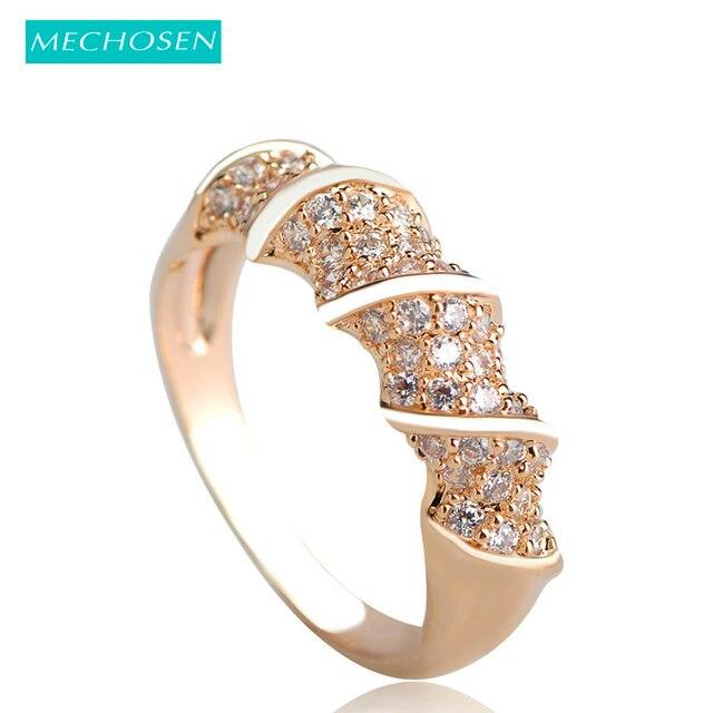 MECHOSEN Fashion Bridal Wedding Rings CZ Zircon Crystal Brand