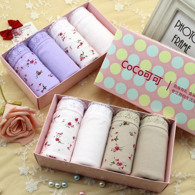 4pcs/lot Women's cotton Panties Plus size M,L,XL,XXL,XXXL Briefs Ladies high waist underwear Mom's Intimates gift box