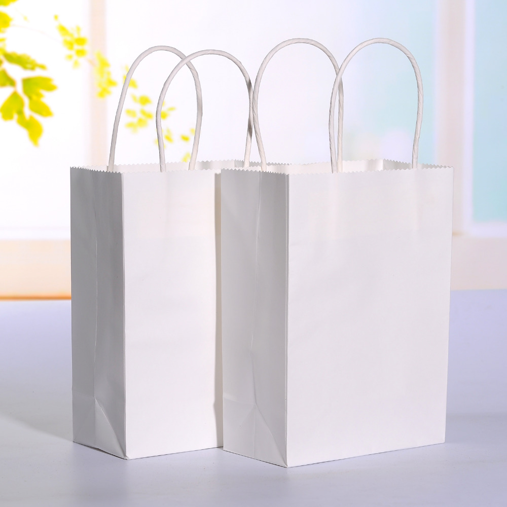 Wedding Paper Gift Bags: 20pcs/lot White Kraft Paper Bag With Handle Wedding Party