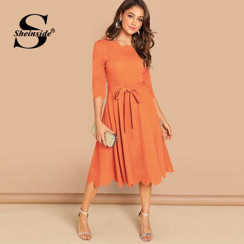 Sheinside, элегантное облегающее платье с зубчатыми краями, женское Бордовое платье с рукавом 3/4, однотонные платья карандаш, женские вечерние платья, ночные дамы миди платье