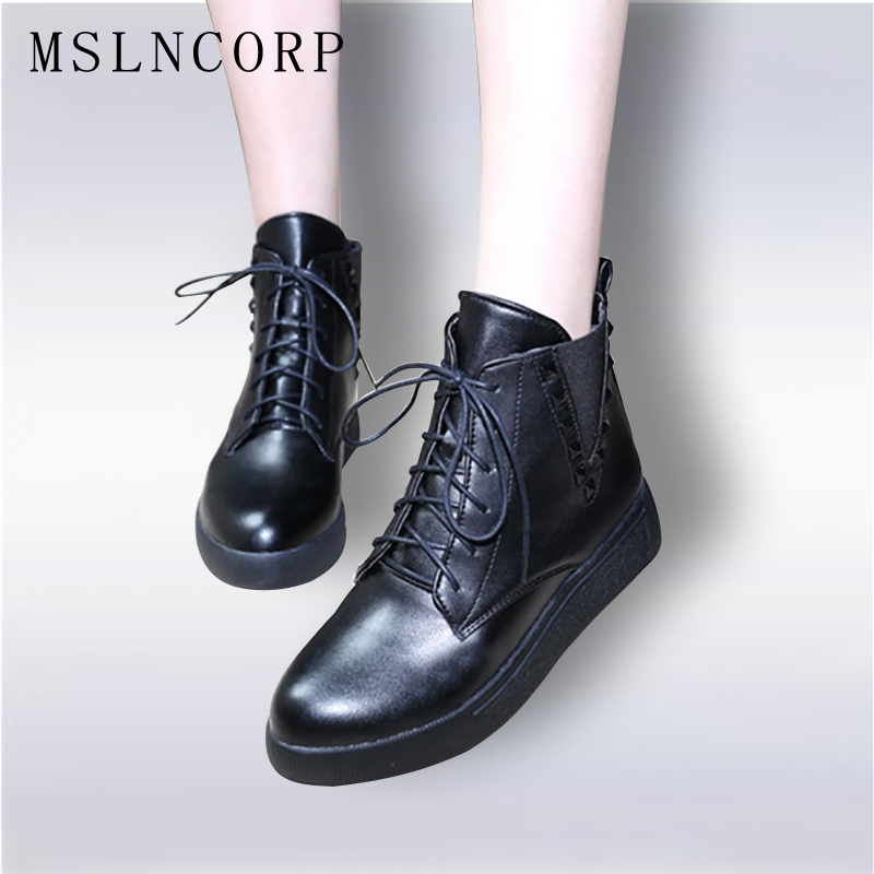 size 34 43 Fashion Autumn Winter Ankle Boots Platform Women Classic Lace Up Warm Plush Leather Martin Boots Rivet Woman Shoes in Ankle Boots from Shoes