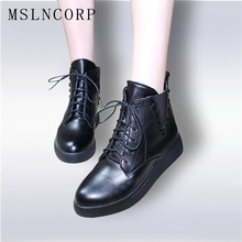 size 34-43 Fashion Autumn Winter Ankle Boots Platform Women Classic Lace-Up Warm Plush Leather Martin Boots Rivet Woman Shoes plus size 34 43 fashion women boots with warm plush shoes spring autumn winter lace up punk flats round toe ankle martin boots