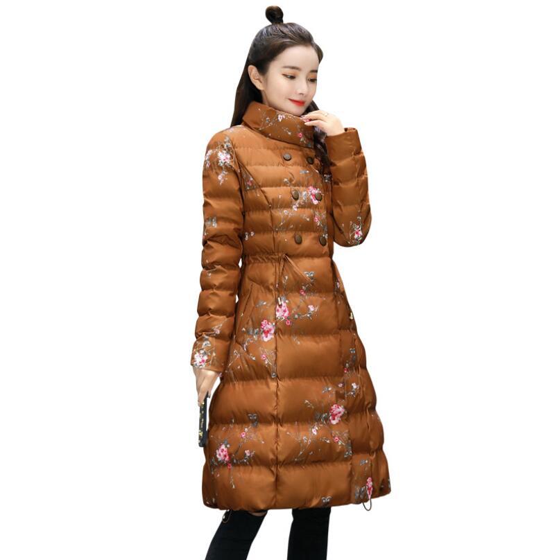 Mode Manteau Mince D'hiver Long P690 white Impression Black Femelle caramel Survêtement Coton Parkas 2018 Moyen Femmes Color Vestes Chaud Veste De z8Yg8