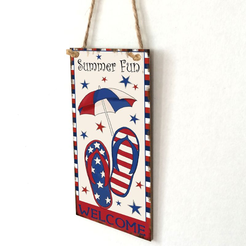 Image 3 - Vintage Wooden Hanging Plaque Welcome Summer Fun Sign Board Wall Door Home Decoration Independence Day Party Gift-in Plaques & Signs from Home & Garden